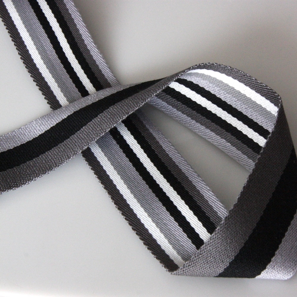 40mm Reversible Striped Webbing - Black/Grey