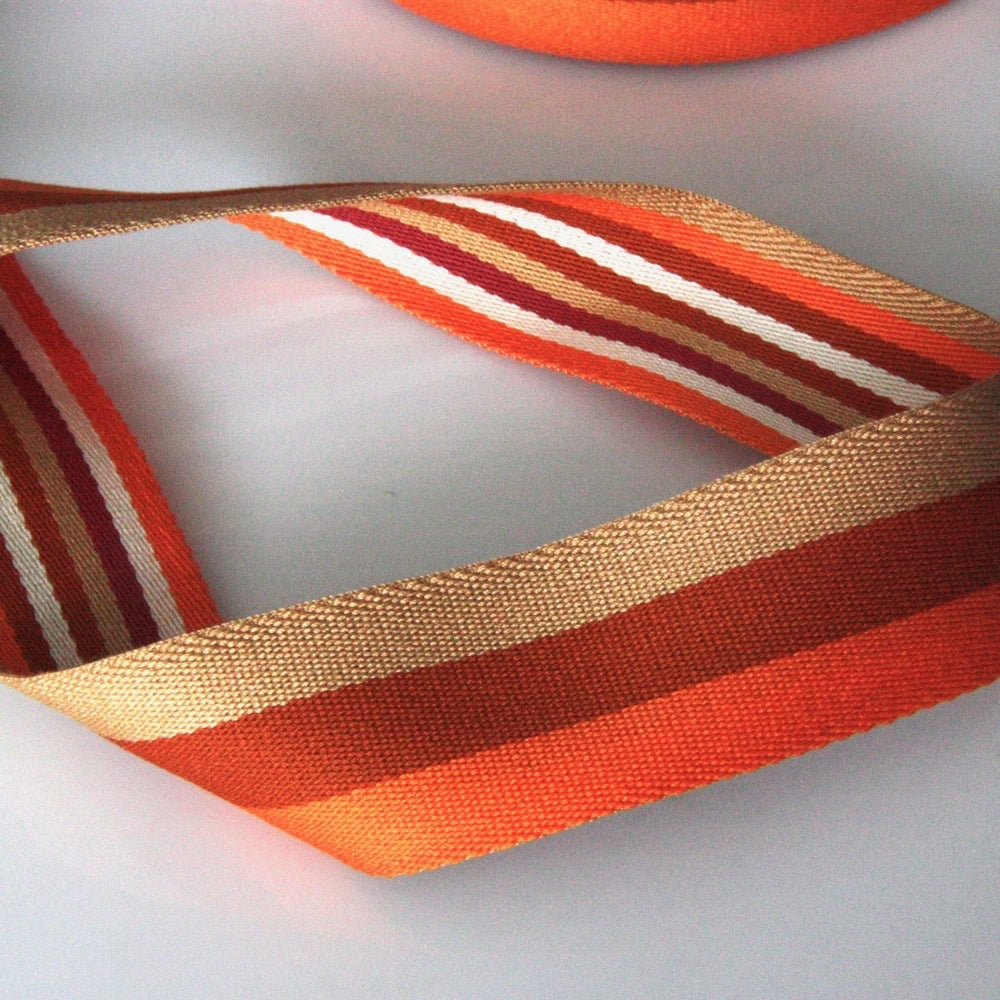 40mm Reversible Striped Webbing - Orange/Beige