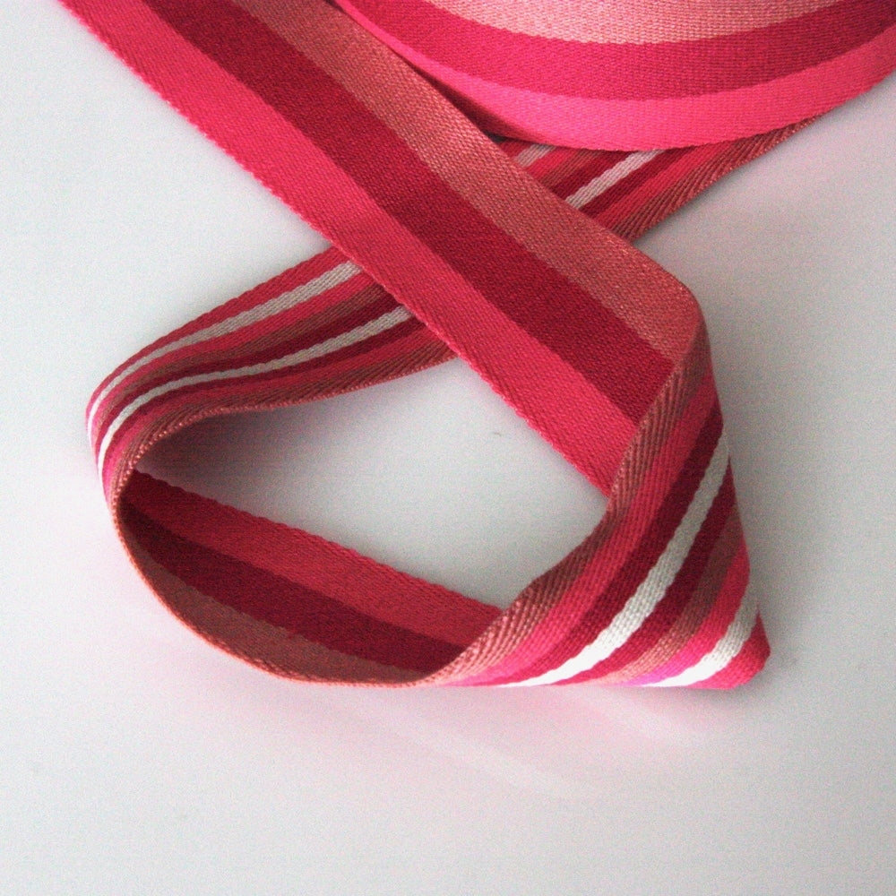 40mm Reversible Striped Webbing - Pink/Red