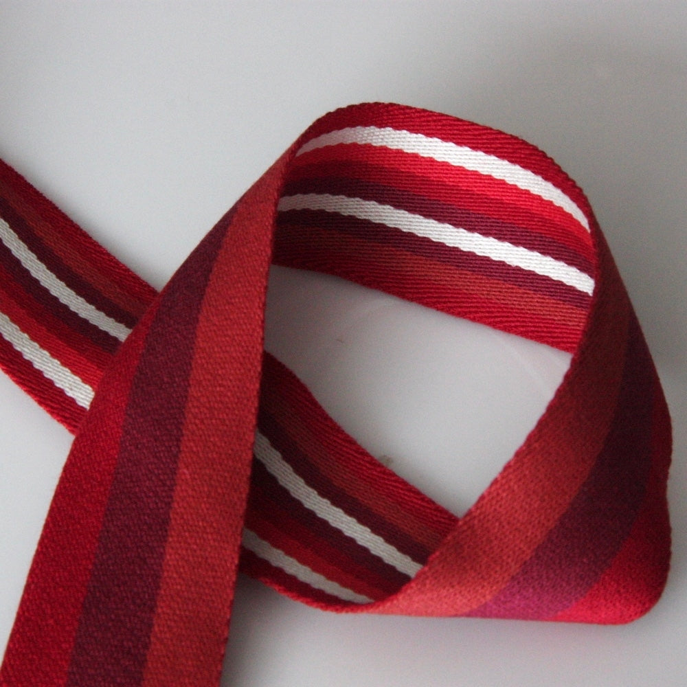 40mm Reversible Striped Webbing - Red/Burgundy