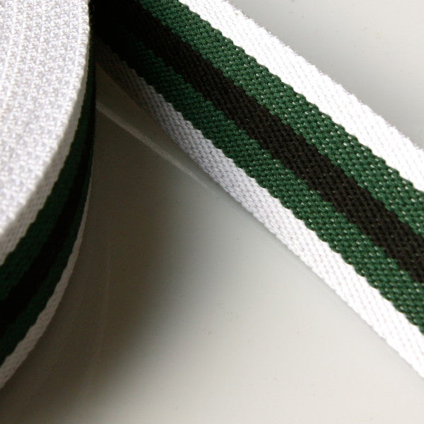 Stripe Strap Webbing 38mm - White/Green/Black Striped