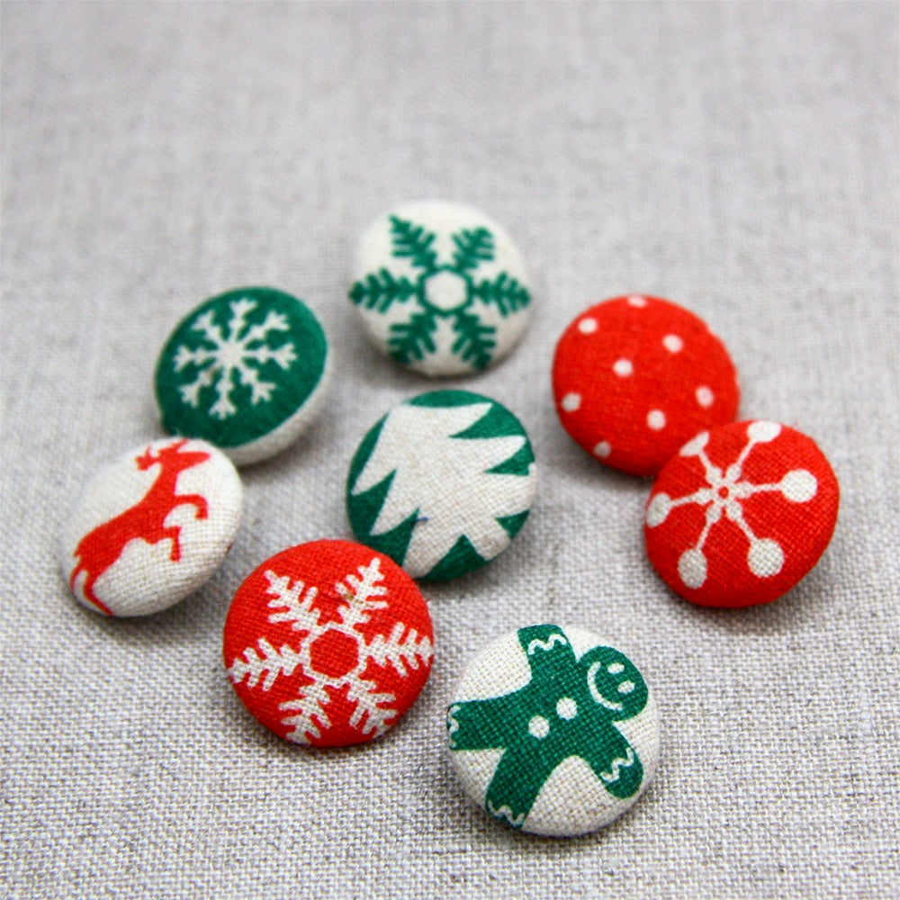 Christmas Buttons - Linen Covered Set of 8