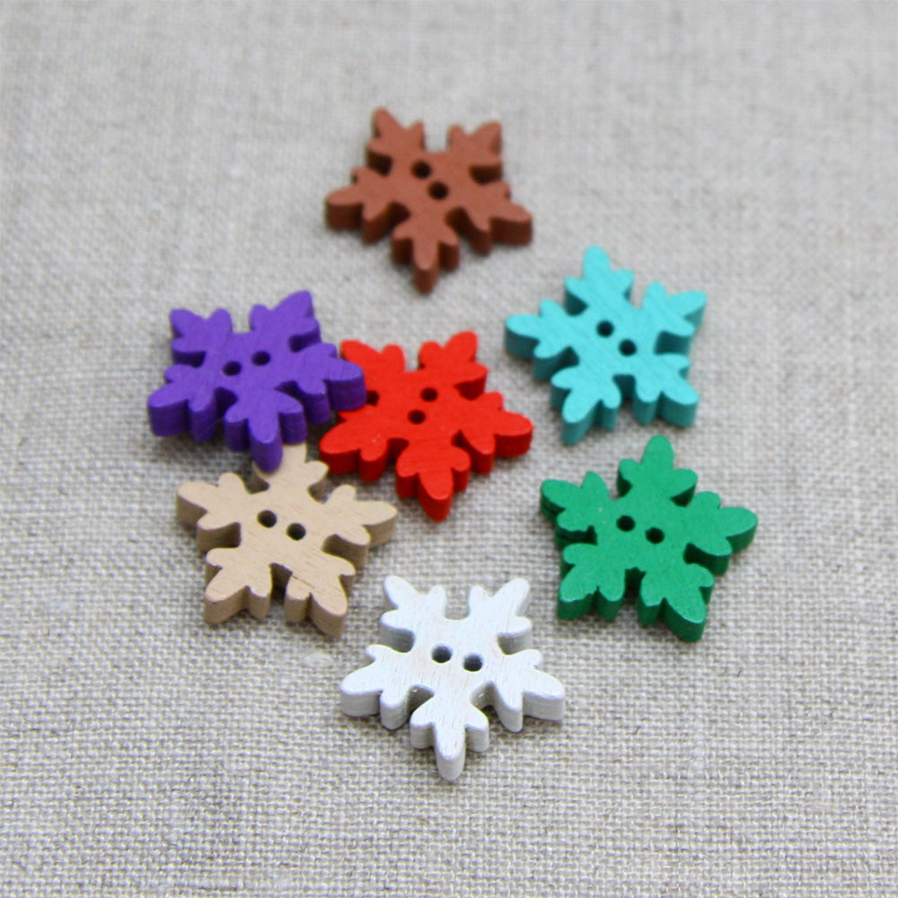 Christmas Buttons - Wooden Snowflake Colour Mix x 7
