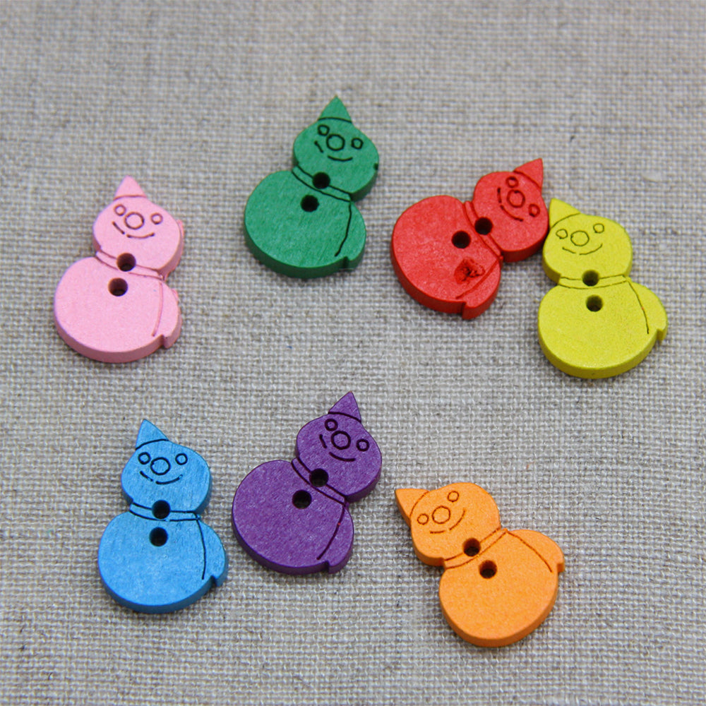 Christmas Buttons - Jolly Snowmen x 7