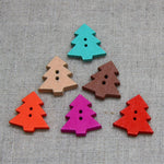 Christmas Buttons - Wooden Tree Colour Mix x 6