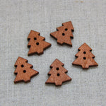Christmas Buttons - Wooden Tree x 5