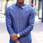 Simplicity Mens' 8427 - Men's fitted shirt with collar and cuff variations