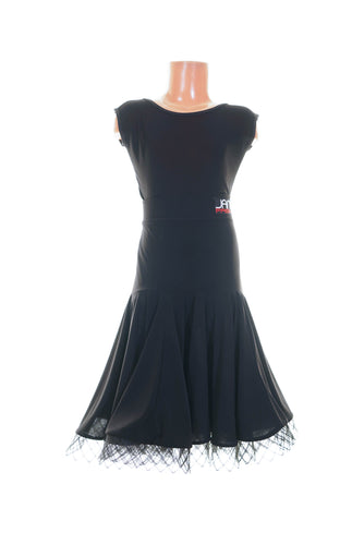 Fancy Crinoline Black Practice Skirt - Latin