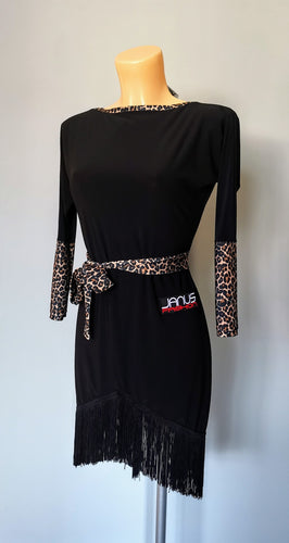 Black Latin Dress with Leopard