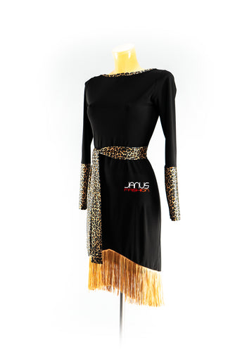 Black Latin Dress with Leopard accent