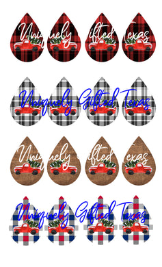 CHRISTMAS TRUCK EARRINGS DOWNLOAD PSD PNG JPEG
