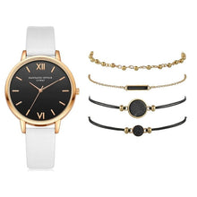 Load image into Gallery viewer, 5pcs Set Top Style Fashion Women's Luxury Leather Band Analog Quartz WristWatch Ladies Watch Women Dress Reloj Mujer Black Clock