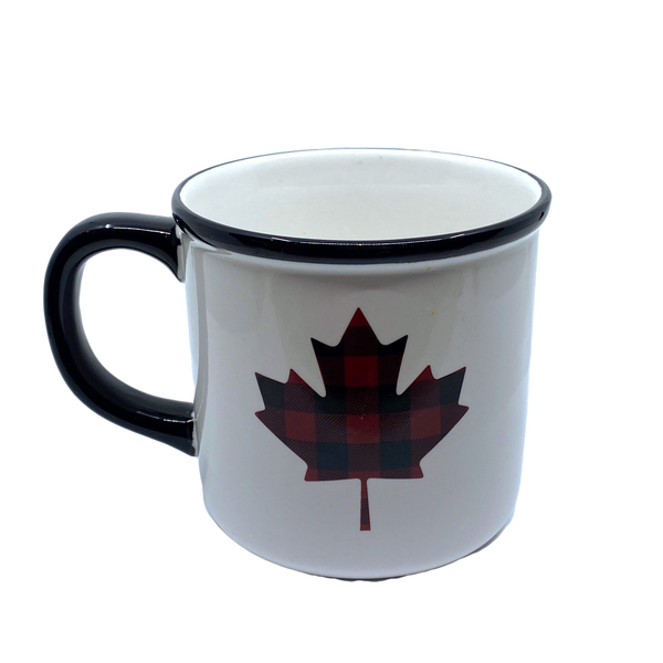 Ceramic Mug with Plaid Leaf Print