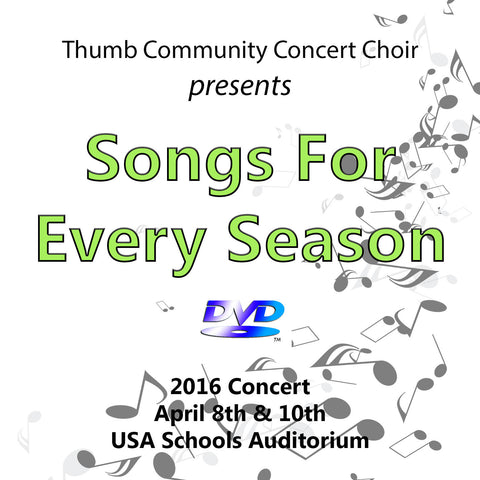 2016 Thumb Community Concert Choir CD or DVD or Combo