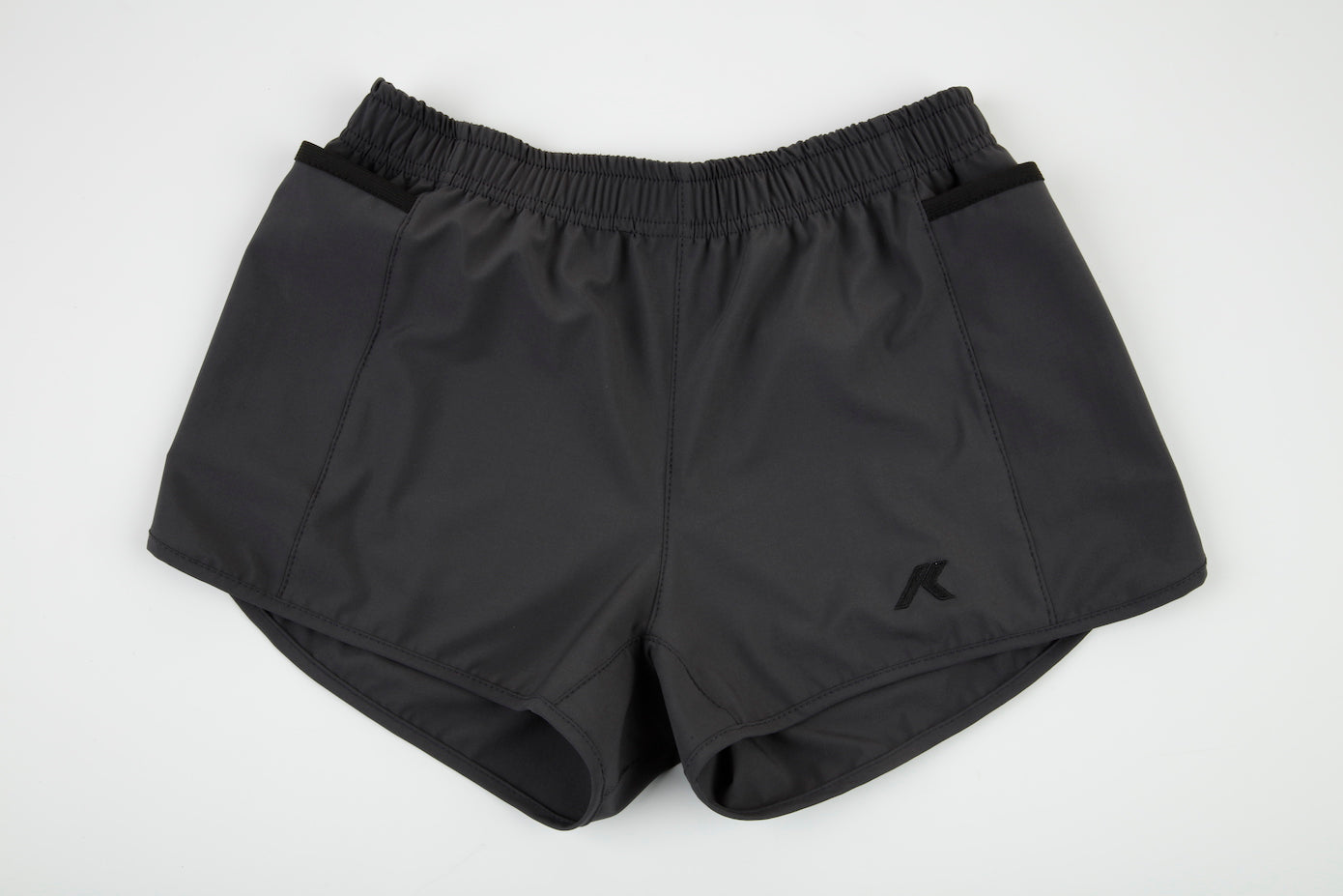 gray and black women's shorts phone pockets