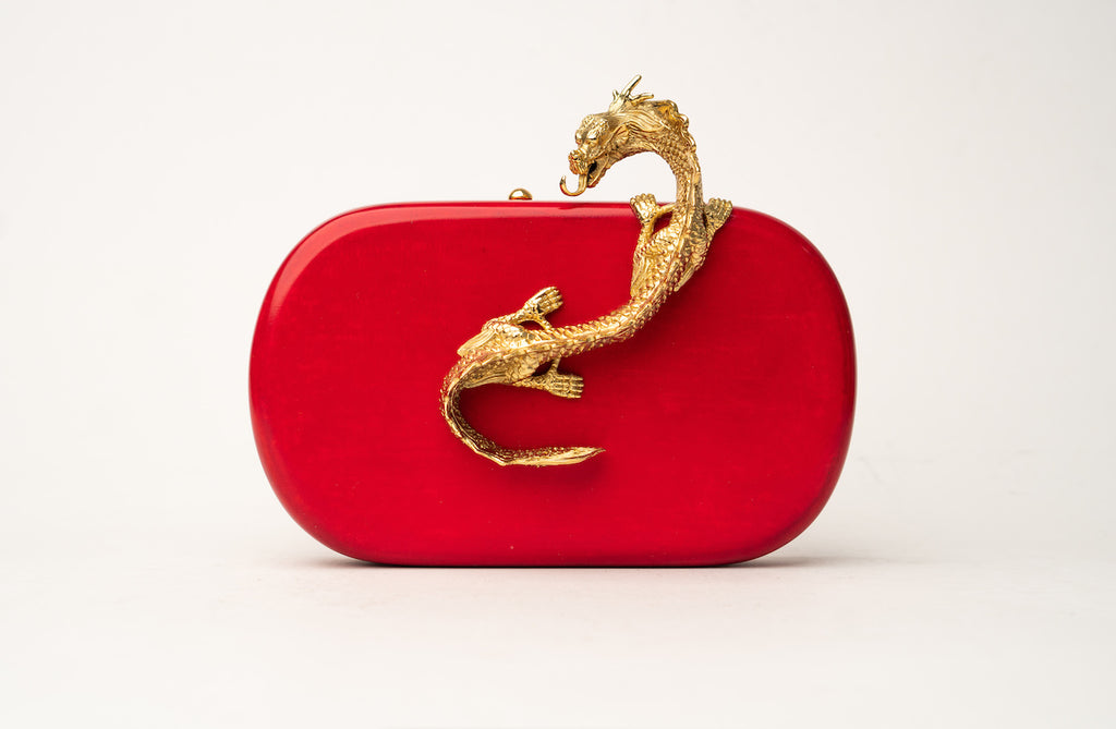 Suzy Wong Minaudière in Red Parchment
