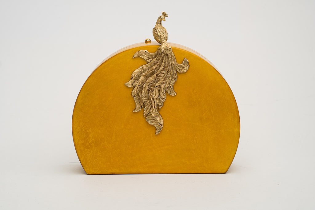Phoenix Minaudiere in Gold Parchment
