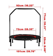 Load image into Gallery viewer, Foldable Mini Trampoline Fitness Rebounder 40""