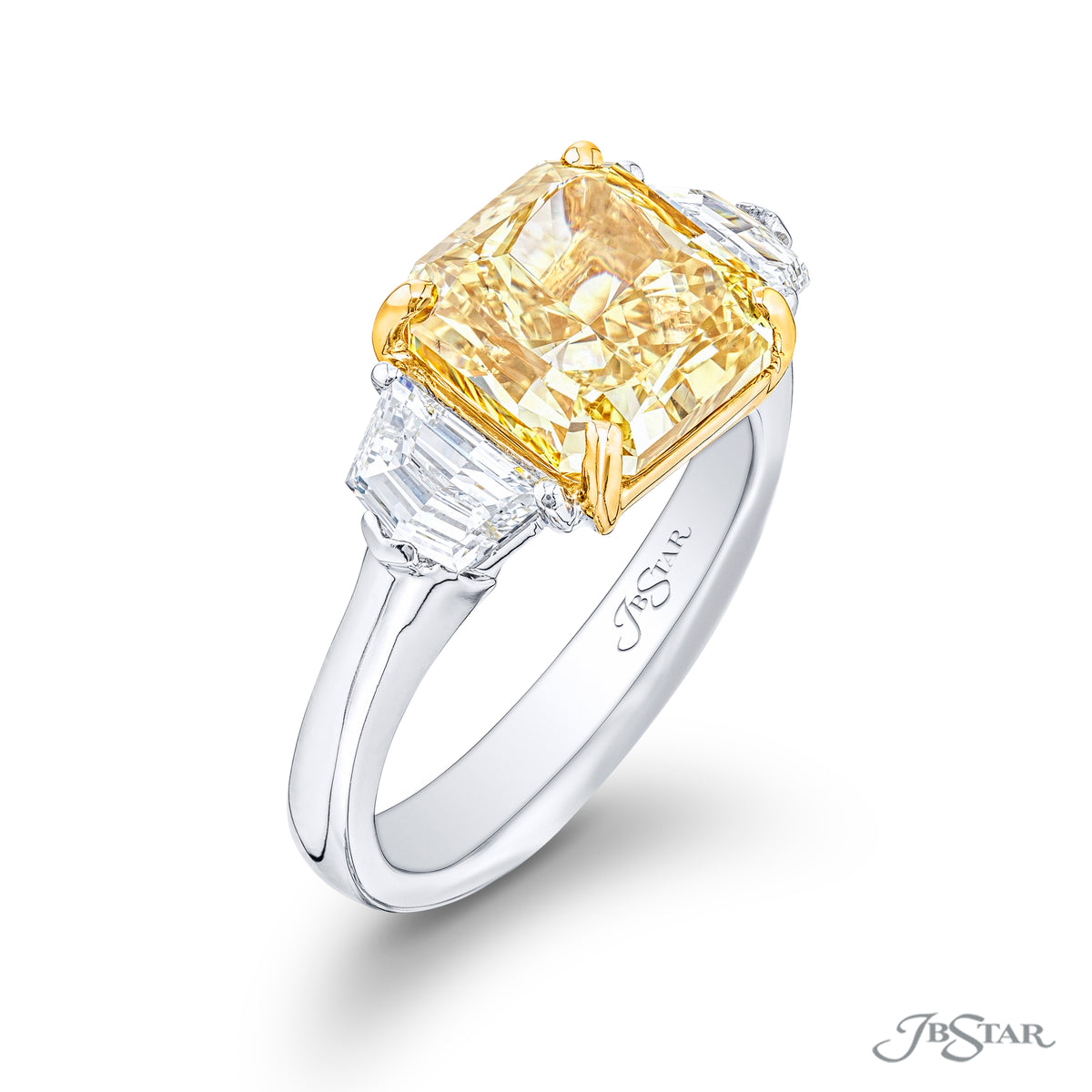 JB Star Platinum and 18K Yellow Gold Ring with a 4.57ct Fancy Deep Yellow Radiant Cut Diamond