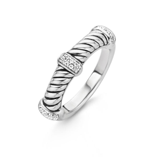 TI SENTO Sterling Silver Ring with a Twist Design and Cubic Zirconia Stations