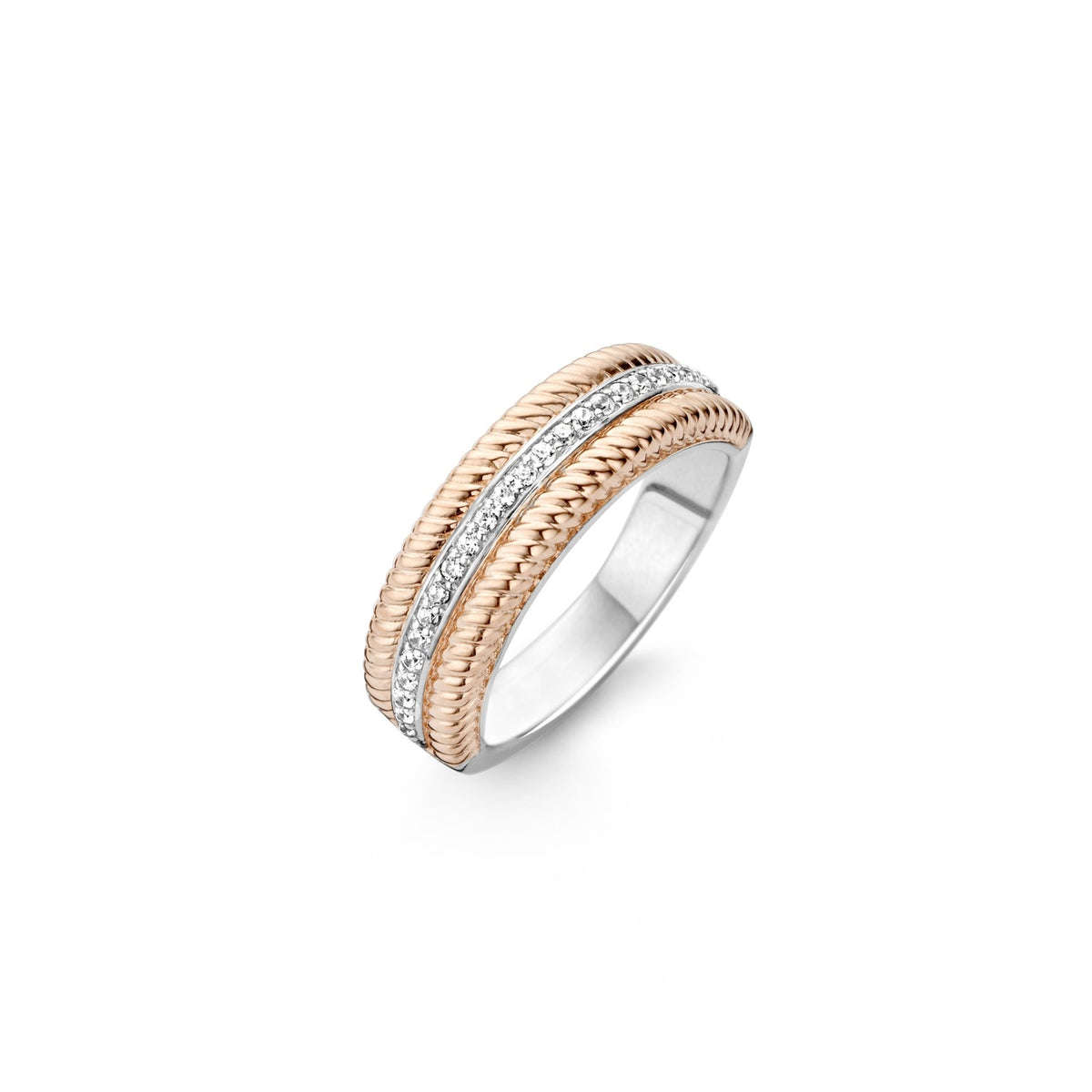 TI SENTO Sterling Silver Ring with Cubic Zirconia and Rose Tone Edges