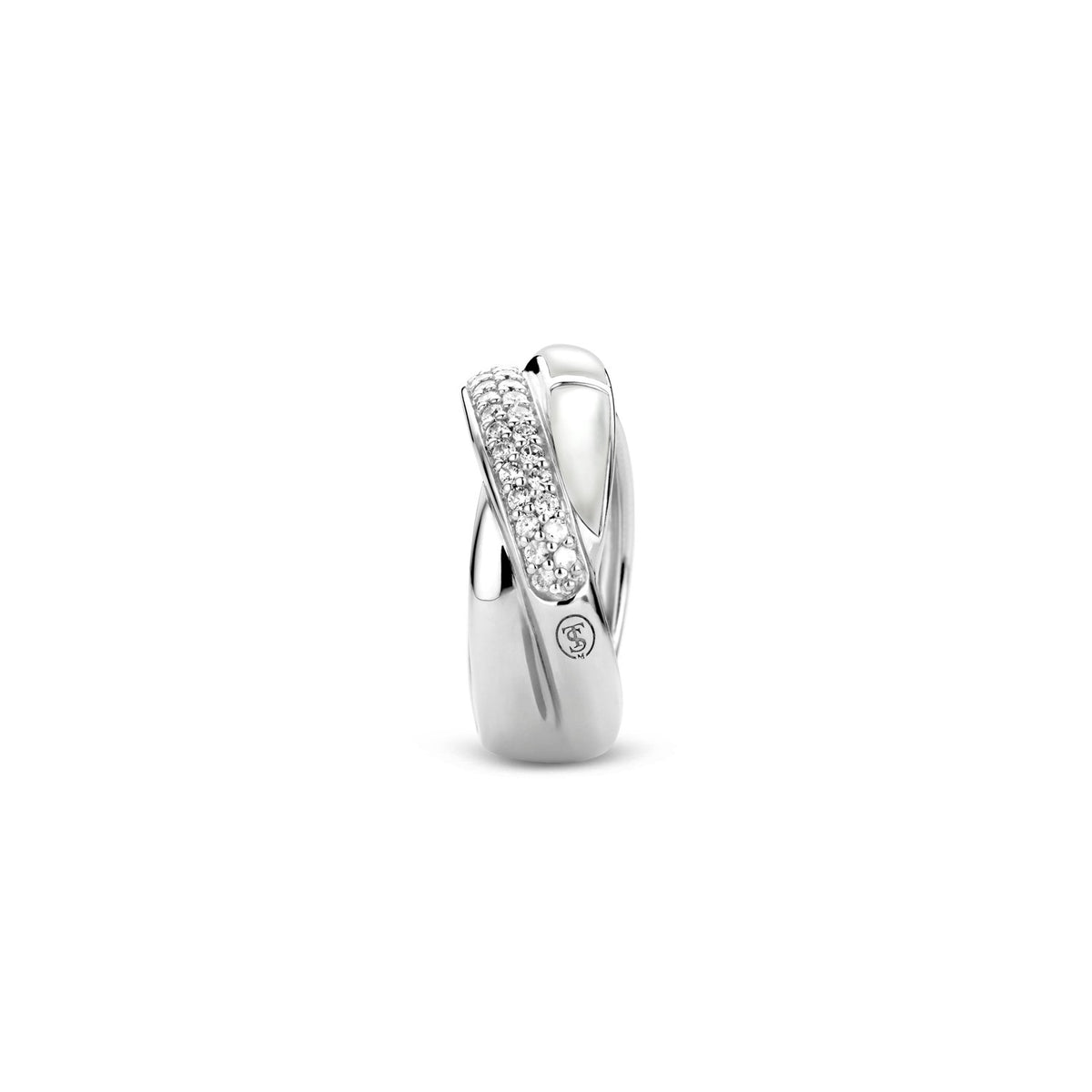Ti Sento sterling silver, faux mother of pearl and cz crossover ring