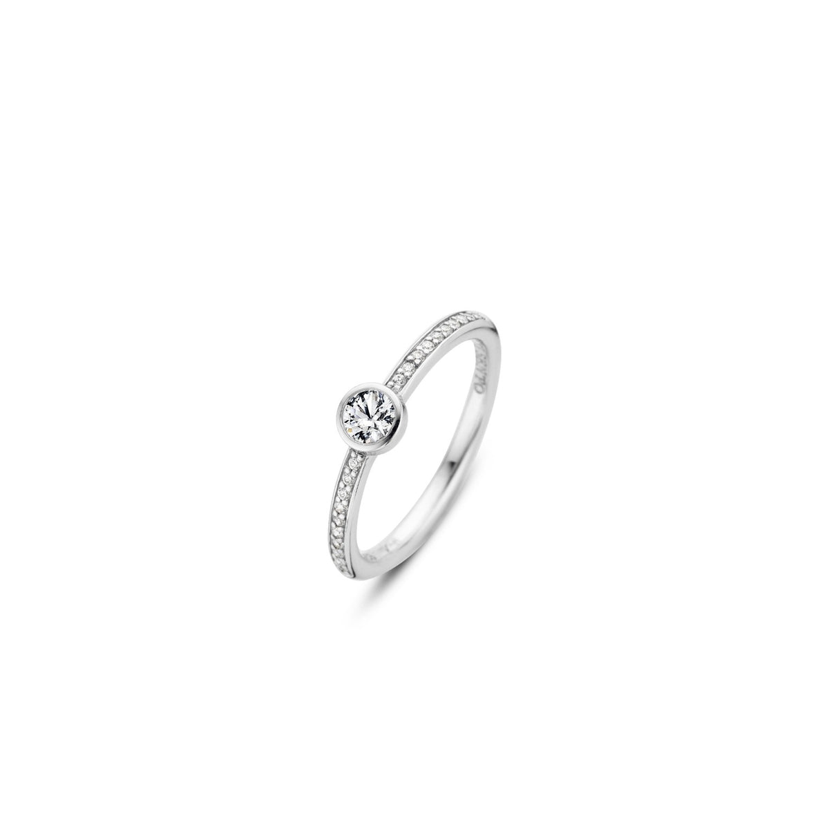 TI SENTO Sterling Silver Half Eternity Ring with Bezel Set Center Cubic Zirconia