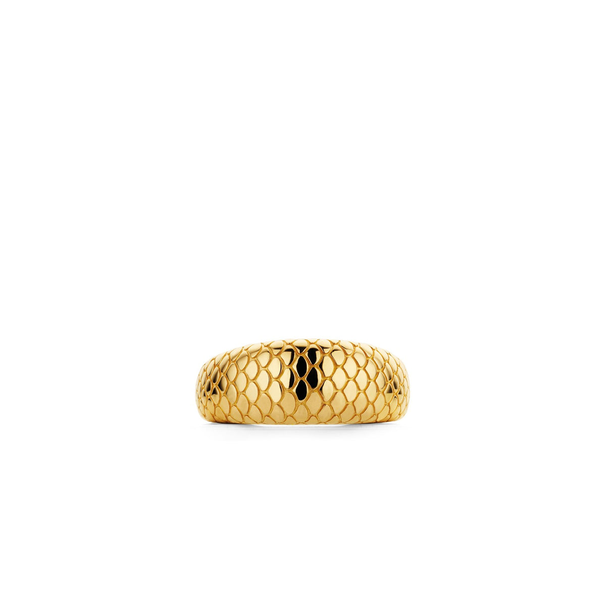 TI SENTO Sterling Silver Gold Tone Tapered Snake Print Ring