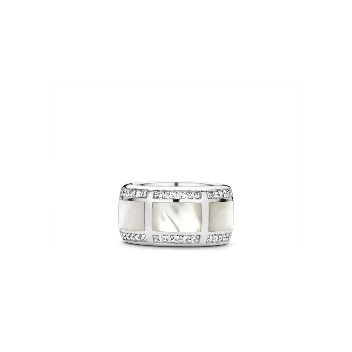 TI SENTO Sterling Silver Wide Faux Mother of Pearl Ring with Cubic Zirconia Edges