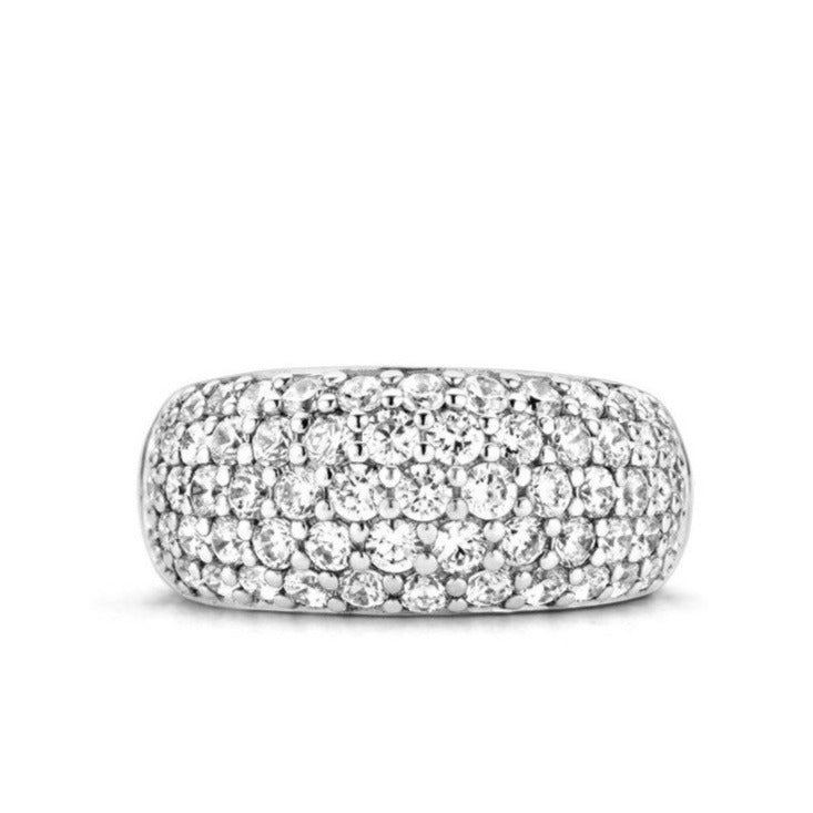 TI SENTO Five Row Pave Sterling Silver Ring