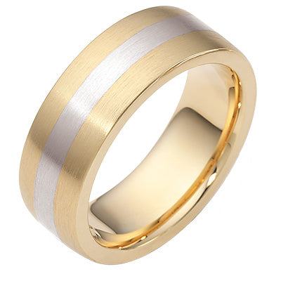 Men's Dora 14K Two Tone 8mm Wedding Band