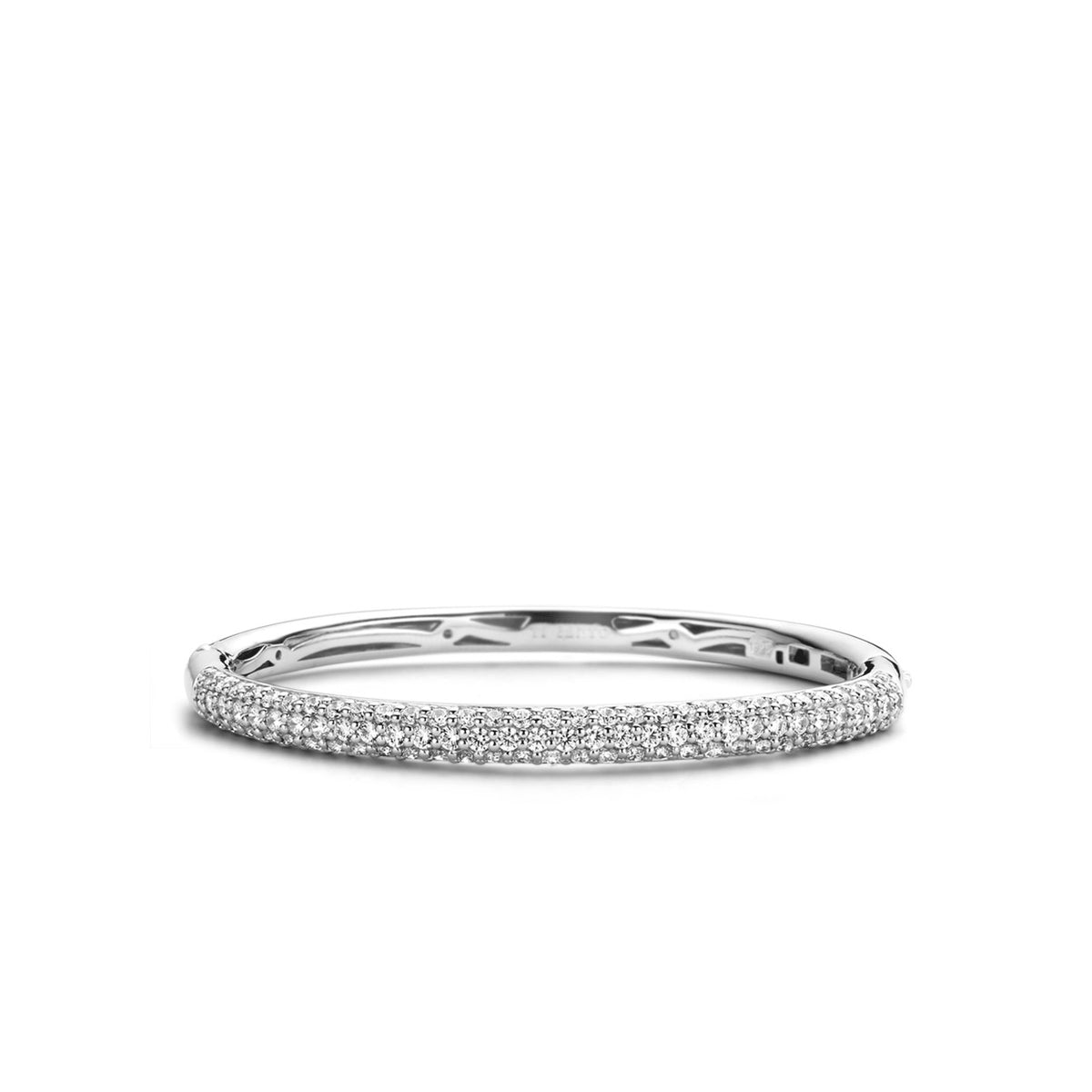 TI SENTO Sterling Silver Three Row Pave Cubic Zirconia Hinged Bracelet