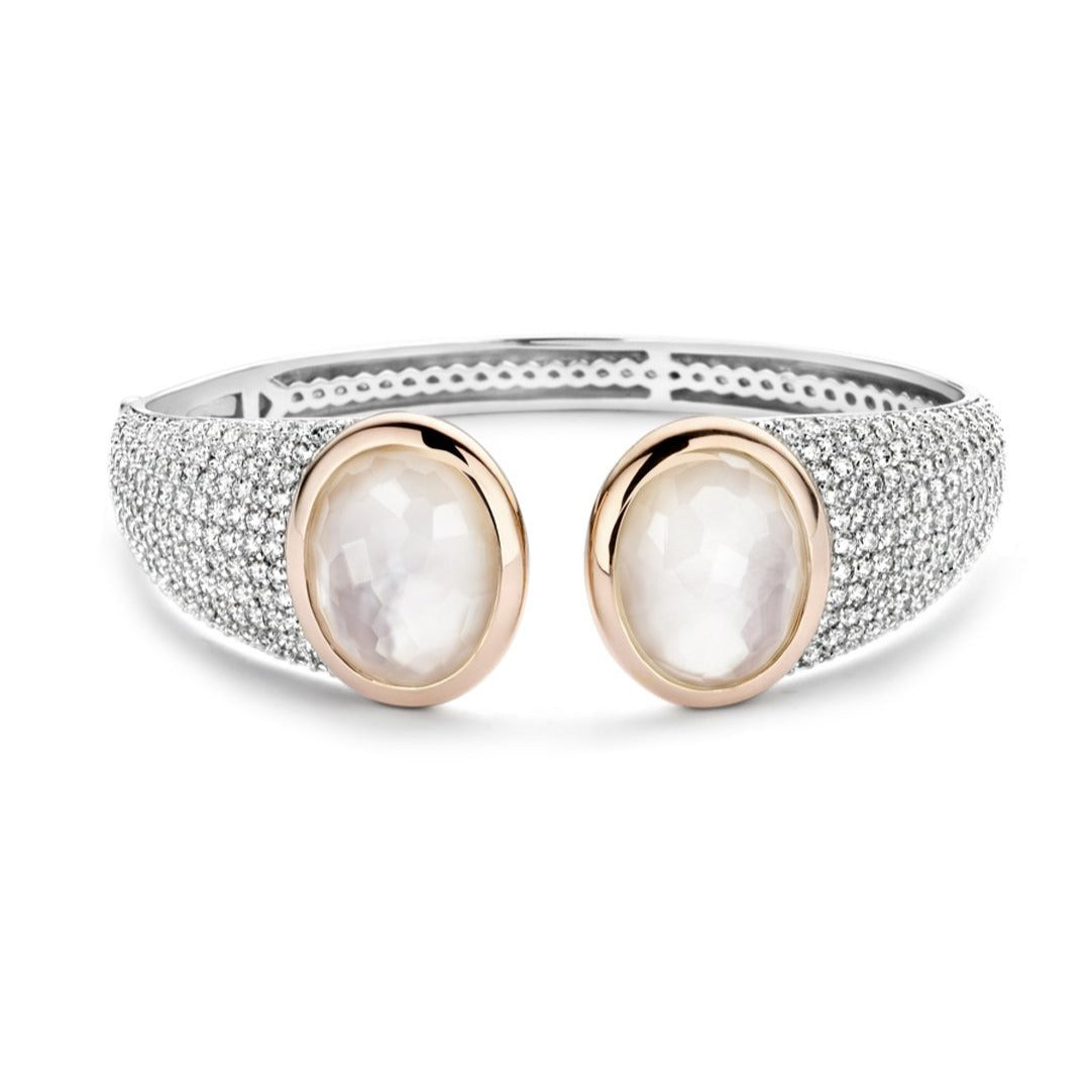 Ti Sento Sterling Silver Hinged Cuff with Pave Cubic Zirconia's and Faux Mother of Pearl Doublets