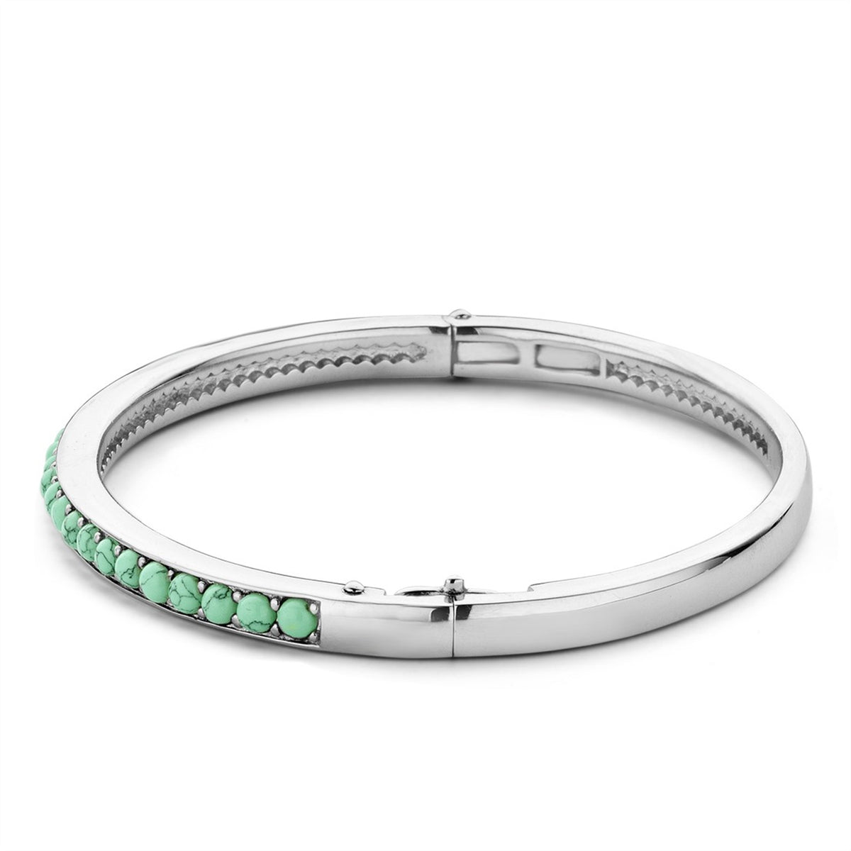 TI SENTO Sterling Silver Hinged Bracelet with Turqoise Colored Stones.