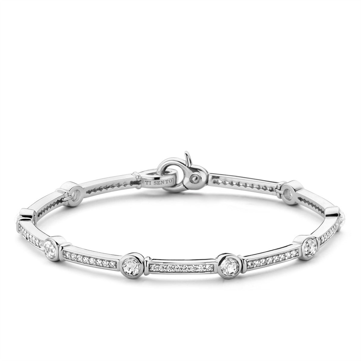 TI SENTO Sterling Silver Station and Line Tennis Bracelet