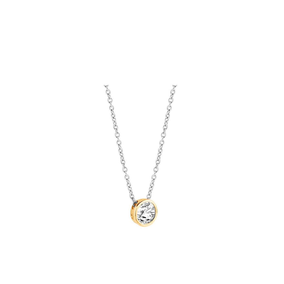 TI SENTO Sterling Silver and Gold Tone Bezel Set Cubic Zirconia Necklace