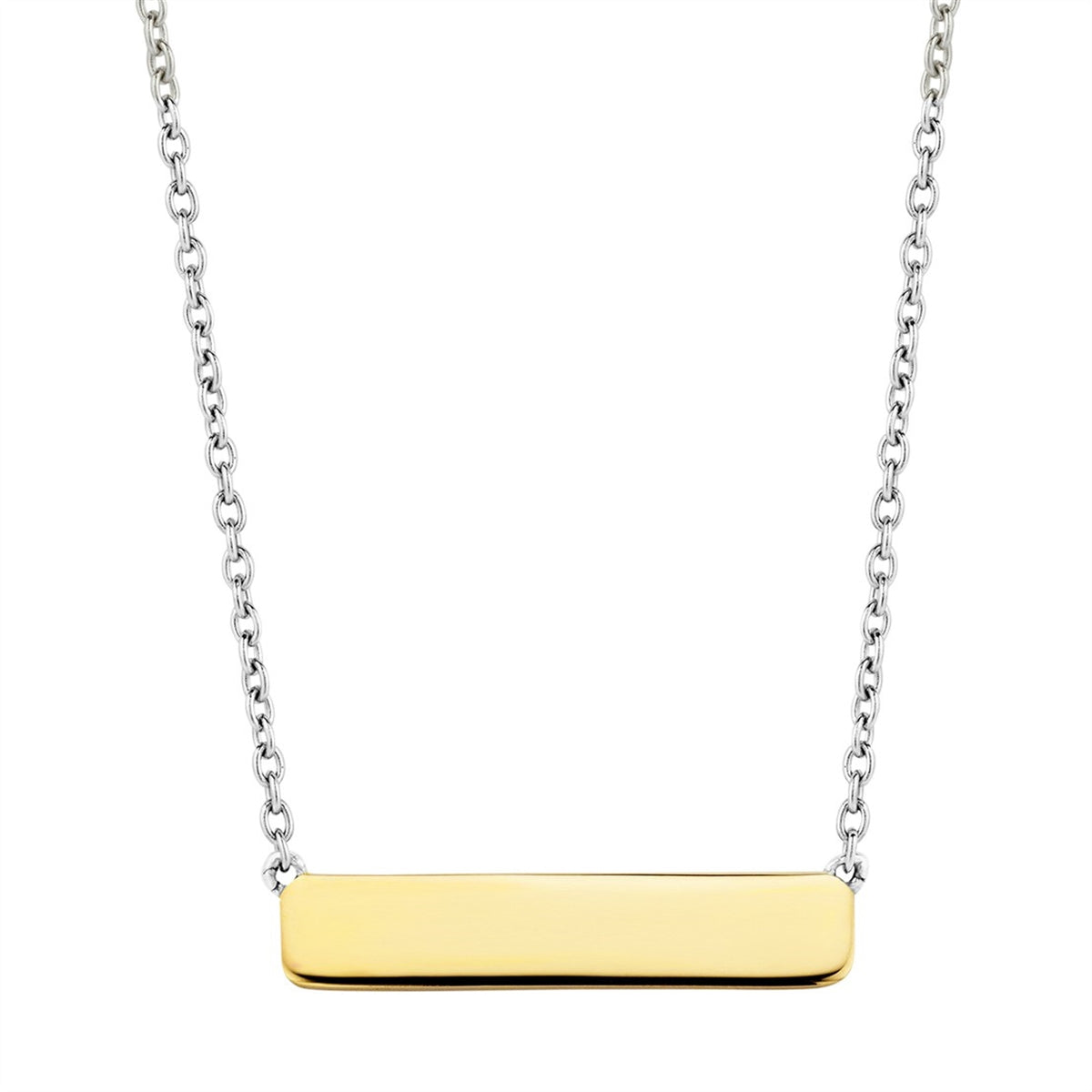 Ti Sento Sterling Silver Necklace with Gold Tone Bar