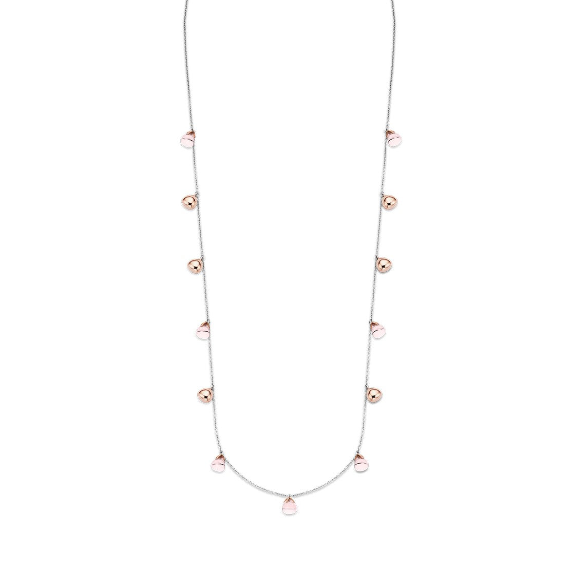 TI SENTO Sterling Silver Necklace with Pink and Rose Teardrop Charms