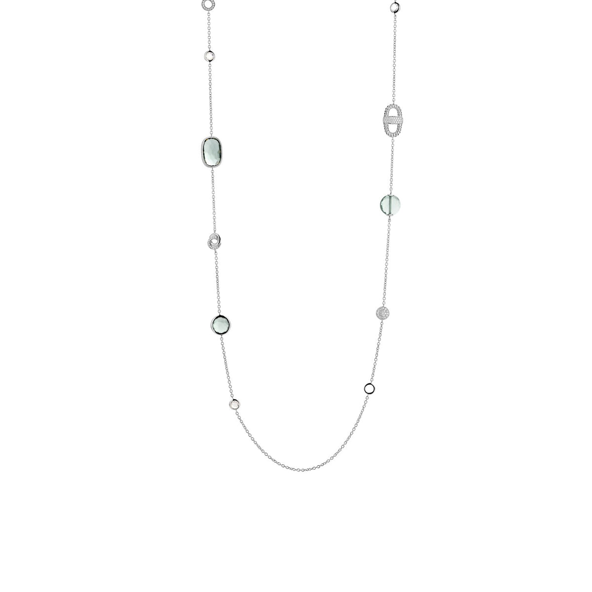 TI SENTO Sterling Silver Station Necklace with Cubic Zirconia and Green Stones