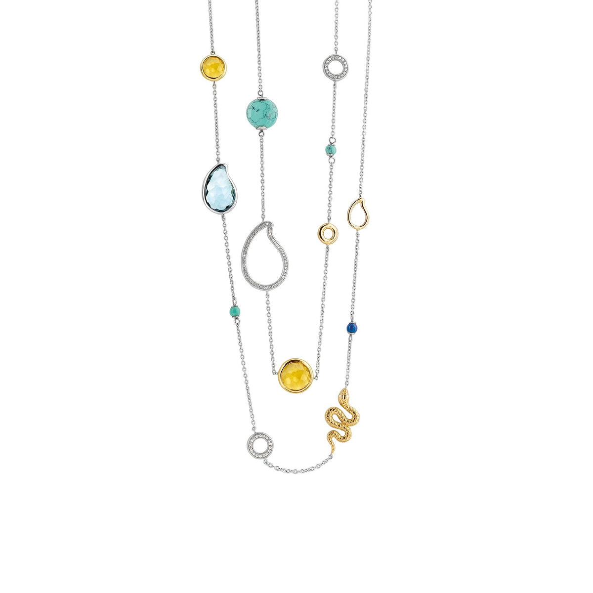 TI SENTO Sterling Silver Multi-Stone Station Necklace
