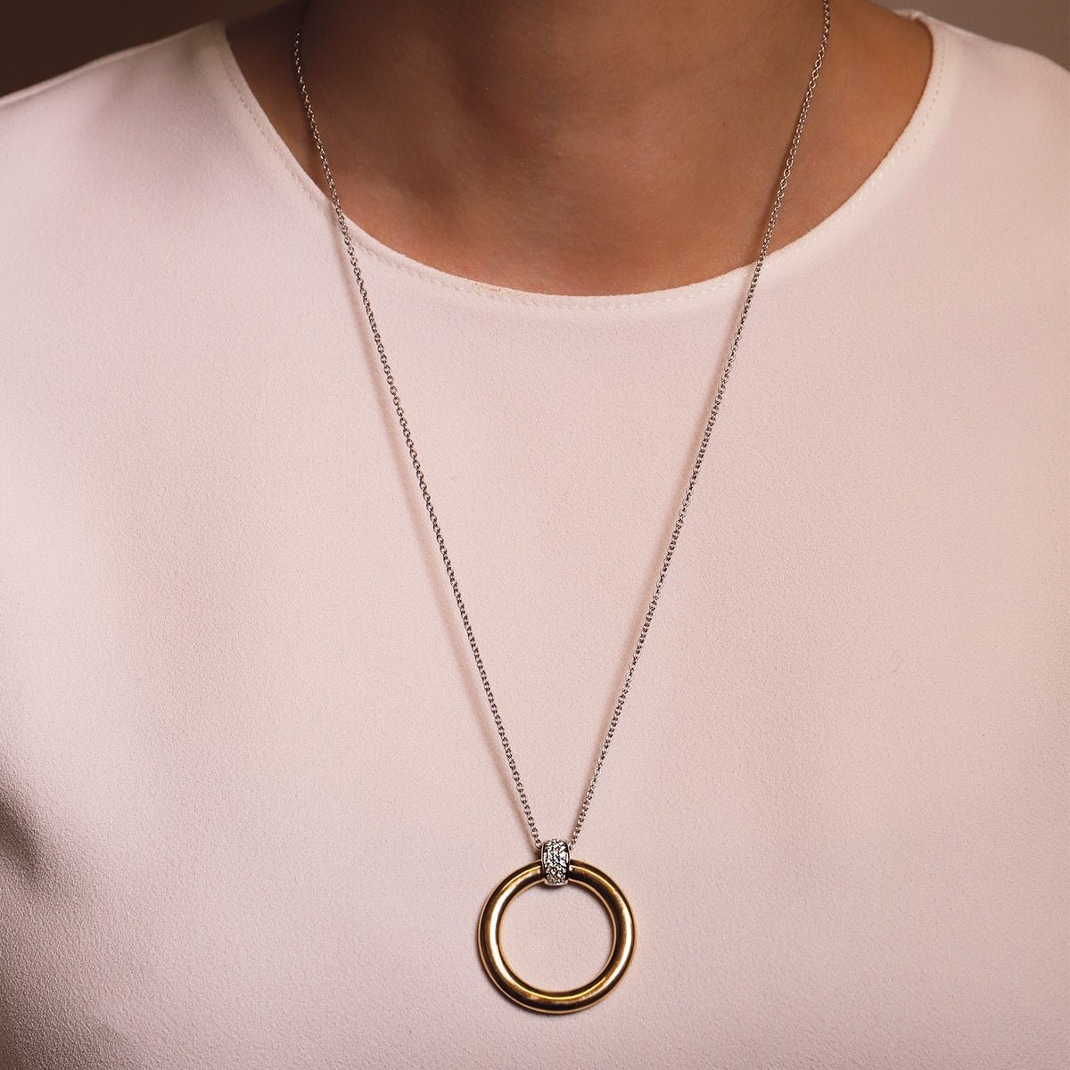 TI SENTO Sterling Silver and Gold Tone Circle Necklace on Model
