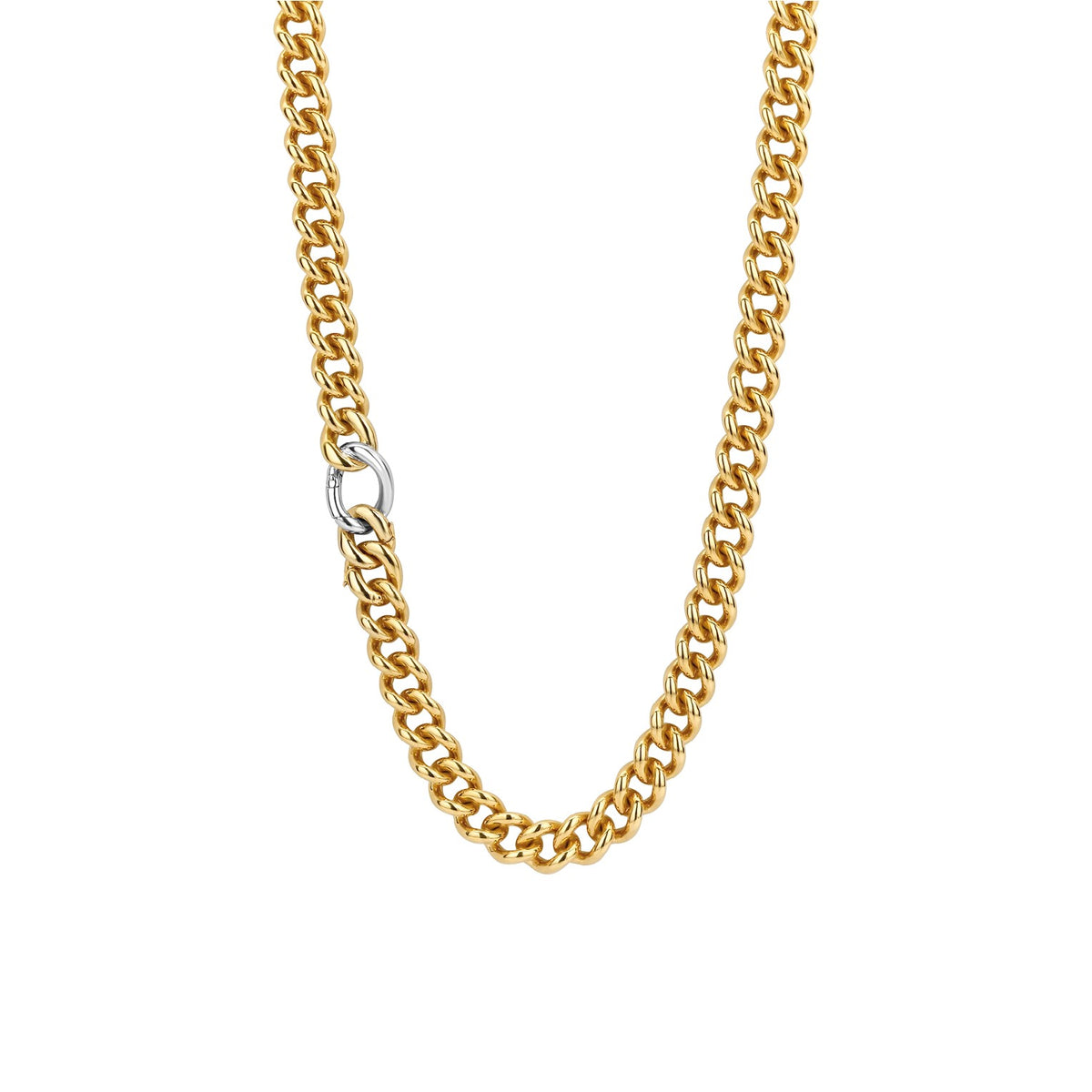 TI SENTO Sterling Silver Gold Tone Heavy Link Necklace