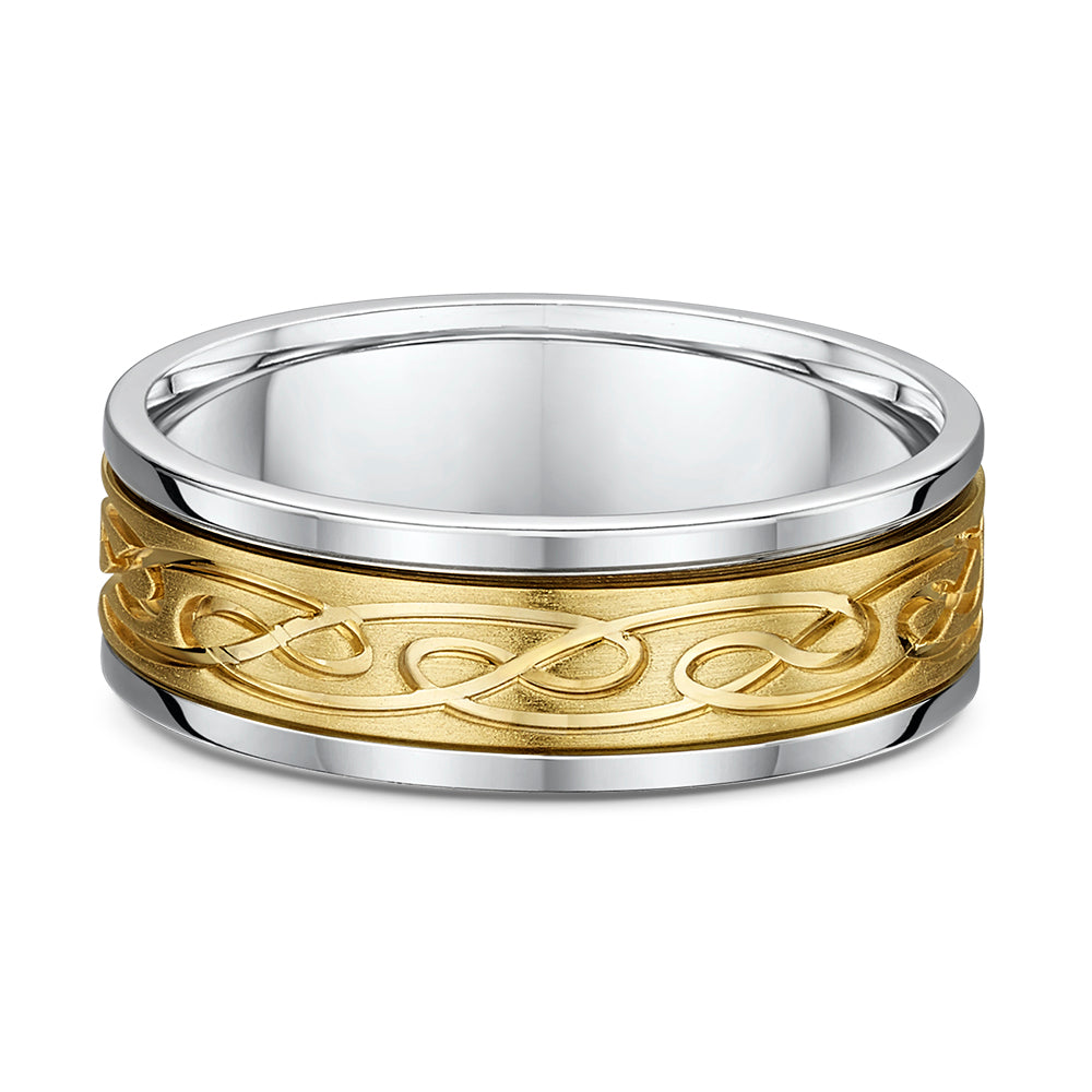 Gents 14K Two Tone 7.5mm Band with Movable Inner Gold Scroll Design Band