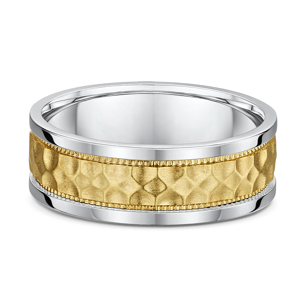 Gents 14K Two Tone 7mm Band with Gold Hammered Finish Center and Milgrain