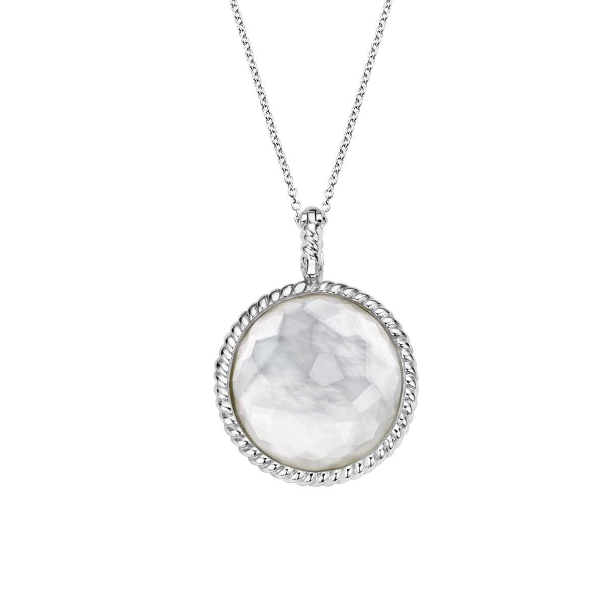 TI SENTO Sterling Silver Pendant with Mother of Pearl Doublet and Cubic Zirconia's