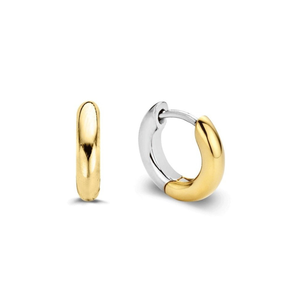 TI SENTO Sterling Silver and Gold Tone Huggie Earrings