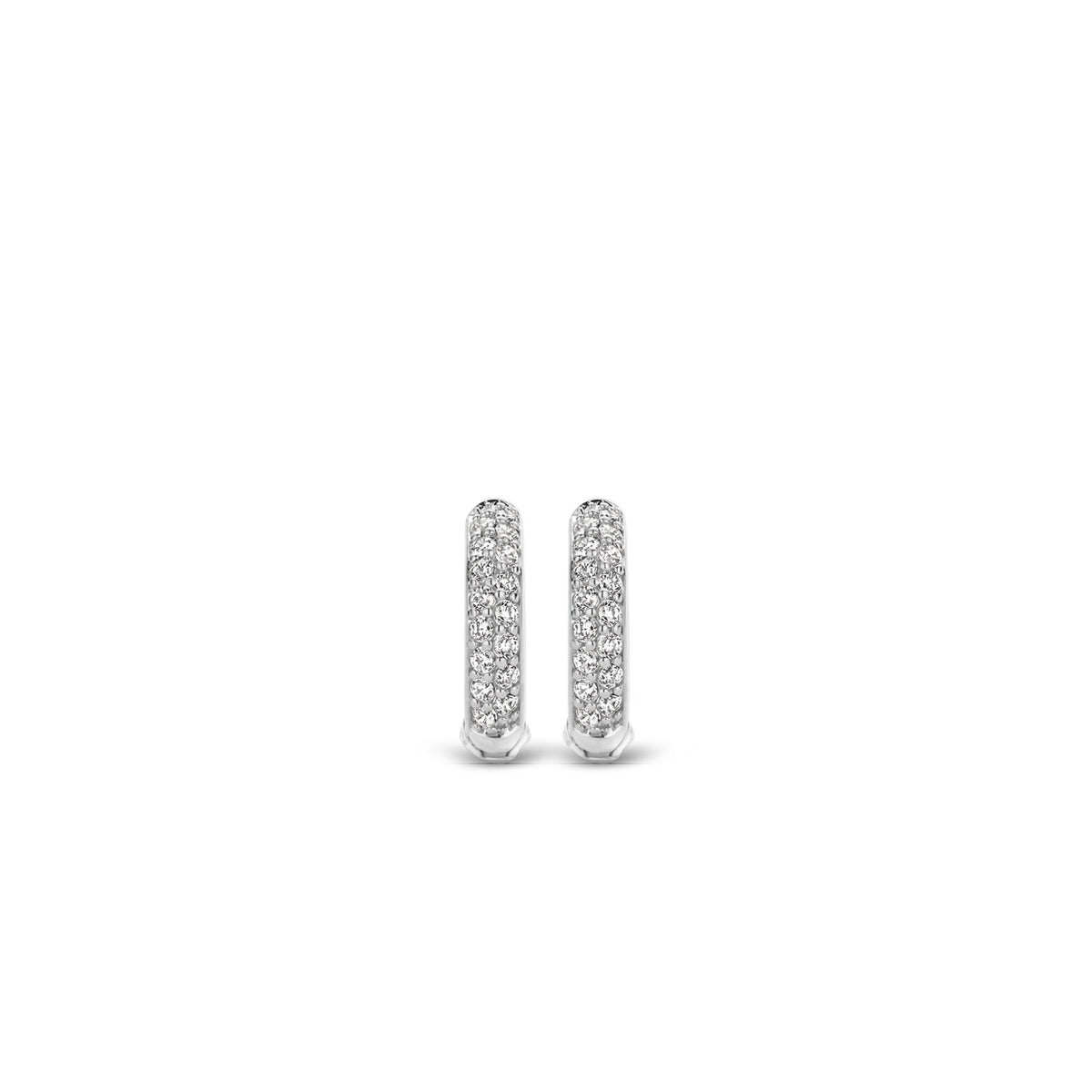 TI SENTO Sterling Silver Two Row Pave Set Cubic Zirconia Huggie Earrings