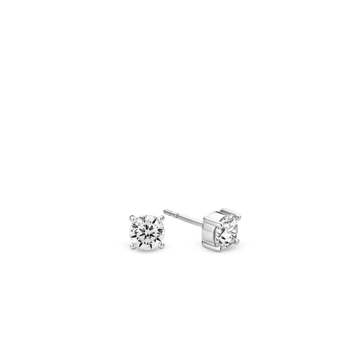 TI SENTO Sterling Silver Four Prong Set Cubic Zirconia Earrings