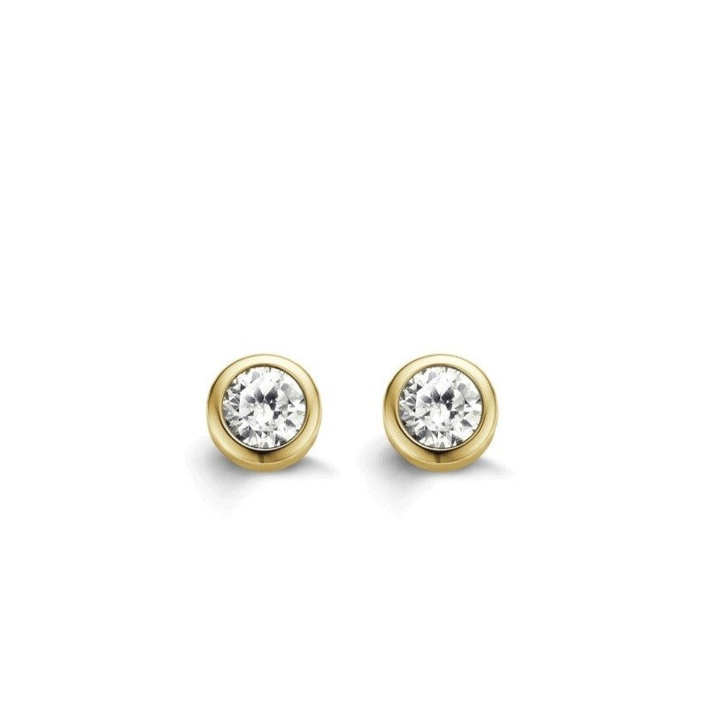 TI SENTO Sterling Silver Bezel Set Gold Tone Cubic Zirconia Earrings