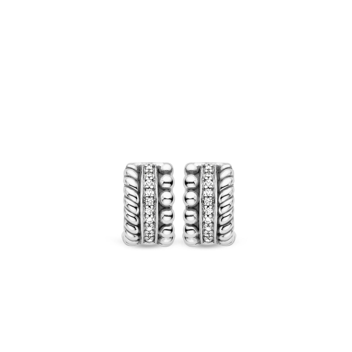 TI SENTO Sterling Silver Multi Row Huggies with Cubic Zirconia